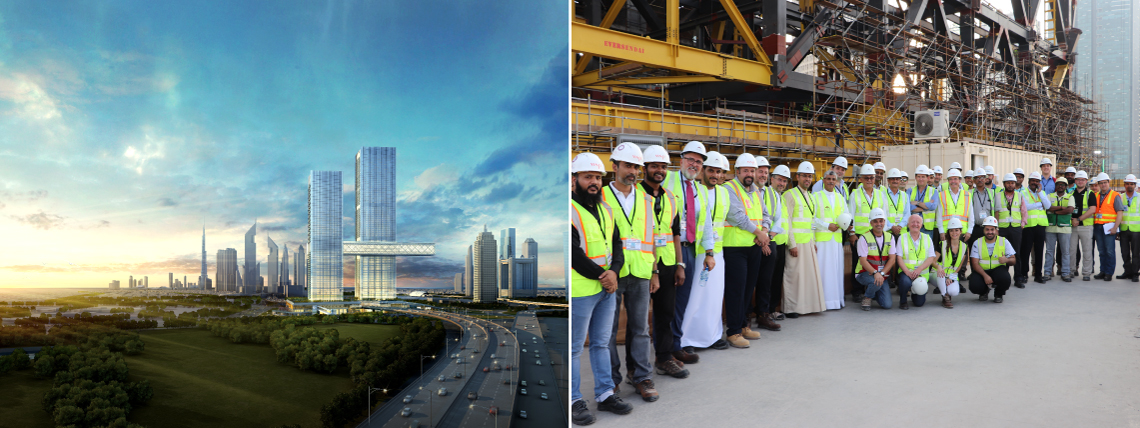 """One Za'abeel reaches pivotal sliding phase of """"The Link,"""" the world's largest cantilever"""